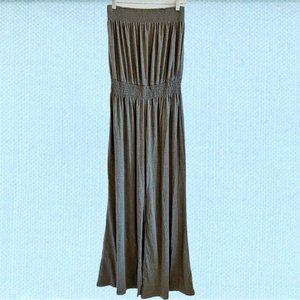 NWT Kopa grey smocked strapless wide leg jumpsuit